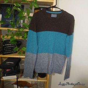 Aeropostale Brown Teal & Grey Sweater Medium